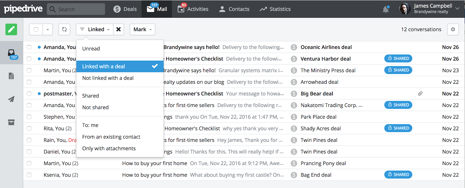 Managing sales activities: pipedrive easy to use email filters